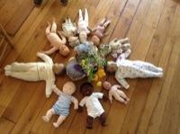 baby dolls waiting for shiatsu